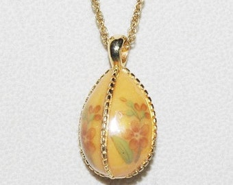 Joan Rivers Egg Necklace Orange with Flowers - S1812