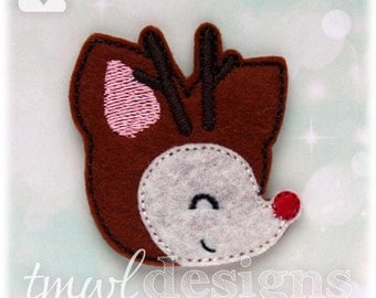 Rudolph the Red Nosed Reindeer Head Profile Christmas Feltie Digital Design File - cream, red, pink, black, brown