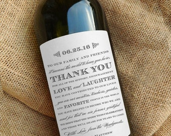 Thank You Wine Labels \\ Wedding Gift \\ Centerpiece \\ Favor