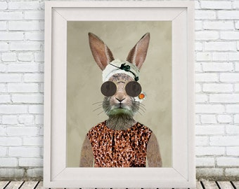 Rabbit Artprint, Bunny Print, Rabbit with sunglasses, Rabbit Wall Art, 8x10,Red, Women, Vintage print, Lady,  Rabbit Artwork, Rabbit decor
