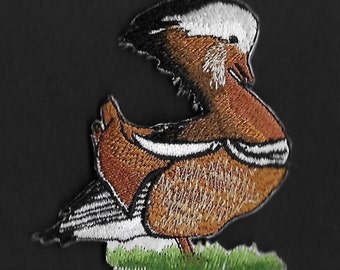 Mandarin Duck  Embroidered Iron On Patch / Applique