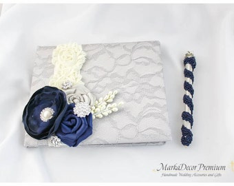 Wedding Lace Guest Book Pen Set Custom Bridal Flower Brooch Guest Books in Silver, Ivory and Navy Blue