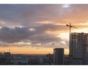 Manchester Rising. Manchester City Sunset Panorama Photography Print.