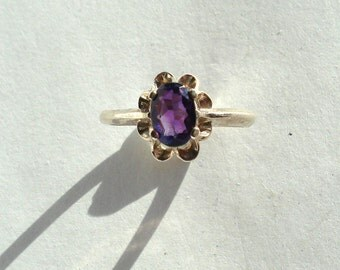 Natural Amethyst Faceted 7x5mm Oval Sterling Silver Ring Size 6.75 Vintage Purple Gemstone Jewelry hand made February Birthstone