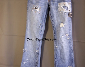 Upcycled Distressed Studded Patched Jeans Women's size 0 CuTe