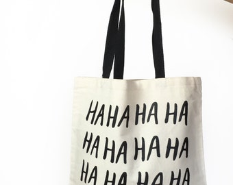 canvas tote bag - tote bags - printed tote bag - market bag - cotton tote bag - canvas bag - HAHAHA inside