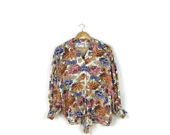 Vintage Oversized Floral printed Slouchy Long Sleeve Blouse  with front tie