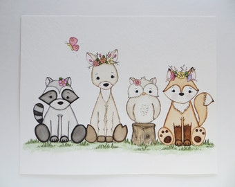 Woodland Princesses, little girl decor, nursery art, woodland nursery print, kids wall decor, original painting, nursery animals
