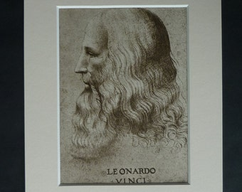 Leonardo da Vinci Self Portrait, Available Framed, Physics Art, Science Picture, Renaissance Decor, Scientific Artwork, Red Chalk Drawing