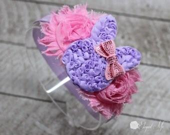 Lavender Easter Headband - Easter Bunny Headband - Pink Flower Headband - Pink Bunny Headband - Newborn - Baby - Girl - Adult - Photo Prop