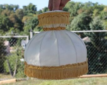 Cream Boudoir Lamp Shade with Gold Fringe Trim