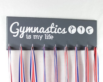 Gymnastics medal holder - medal hanger - medals for gymnast gymnasts medal rack  - Gymnastics is my life