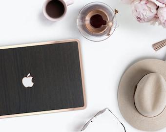 """Platinum Natural Series Dark Tamo Wood Grain and Rose Gold Detailing Hybrid Hard Case for Apple Mac Air & Mac Pro Retina, Macbook 12"""""""