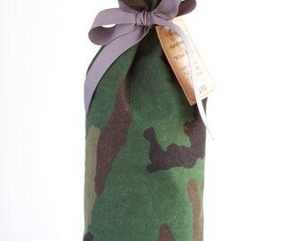 Camouflage Wine Bag, Canvas Wine Bag; Green Camo, Black, and Gray; 1.5L Bottle Bag, Cotton, Handmade