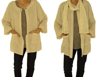 HN600BG ladies jacket linen Cardigan Gr. 32 34 36 38 beige