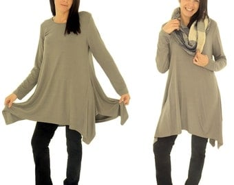 HU500TP tunic layered look asymmetrical Gr. 38-44 taupe