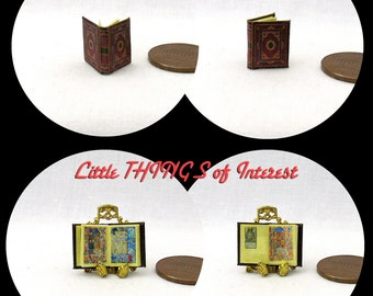 1:24 Scale MEDIEVAL BOOK Of HOURS Miniature Book Dollhouse Illustrated Book