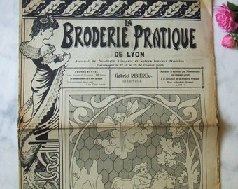 "Vintage French Embroidery Needlework Sewing Magazine ""La Broderie Pratique"" 1919 Pattern Sheets Angels Ribbons Monograms"
