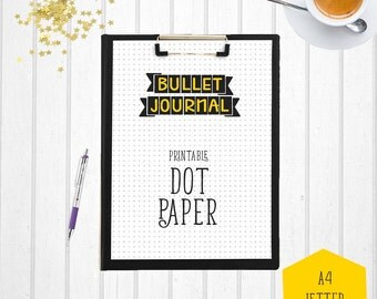 Bullet Journal Dot Paper | Letter Size 8.5 x 11 | Printable Bullet Journal | Letter Size Dot Paper | Bullet Journal