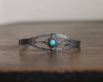 Vintage Maisel's Trading Post 1930's sterling silver and turquoise bracelet