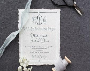 Wedding Invitation Set DEPOSIT - Printable, Custom, DIY, Minimalist, Chic, Elegant, Classic, Monogram, Calligraphy (Wedding Design #40)