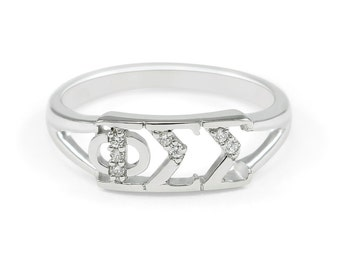 Phi Sigma Sigma Sterling Silver Ring, set with Lab-Created Diamonds