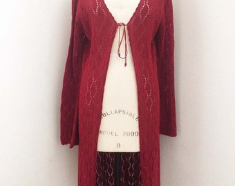ON SALE  Vintage Cranberry Sweater Coat