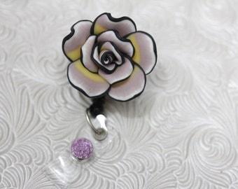 adorable flower of paradise - professional nursing badge holder - retractable - badge reel - badge clip - name badge holder - nurse jewelry