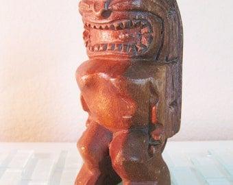 Tiki God Carved Statue Wood Beach Hawaii