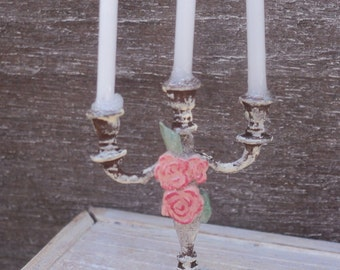 "Dollhouse miniature three arm candelabra in 1"" or 1:12 scale"