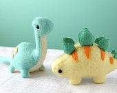 PDF Pattern - Felt Stegosaurus and Brontosaurus Dinosaur Plush Bundle