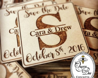 Save the Date Wooden Magnet -Split Initial Design - Laser Engraved - FREE PERSONALIZATION