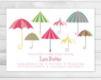 Umbrella Baby Shower Invitation - Pink Printable, Digital Baby Shower Invite File