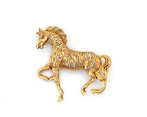 Vintage Horse Pin, Prancing Horse Pin, Large Textured Gold Tone Horse Brooch, Animal Pin, Figural Pin, Estate Jewelry