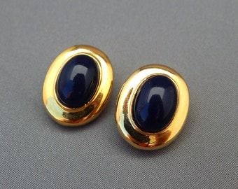 Vintage Cobalt Blue Oval Cabochon Clip Earrings, Blue and Gold Earrings Clip-Ons, Blue Clip-Ons, Estate Jewelry