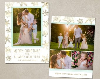 Christmas Photo Card Template - Photoshop Editable Flat card 5x7 inches - Gold Snowflakes CC101