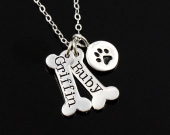 Gift for Dog Lover • Personalized Paw Print • Bone Charm Necklace • Dog Jewelry • Personalize Names • Puppy Charm Necklace • SILVER OR GOLD