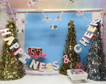 Happiness & Cheer Highlighter Garland | peanuts decor, Charlie Brown christmas, snoopy, holiday banner, christmas banner, holiday party