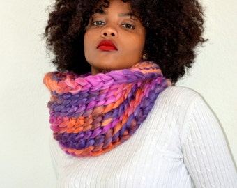 Rose Violet Tube Cowl/ Crochet Snood/ Rose Violet Neck Warmer/ Winter Fashion Snood/ High Fashion Cowl/ Crochet Cowl Scarf/ Tunnel Cowl
