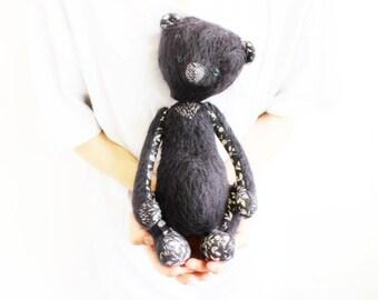 Rudolf the bear. 12' black teddy bear OOAK artist bear himalayan bear