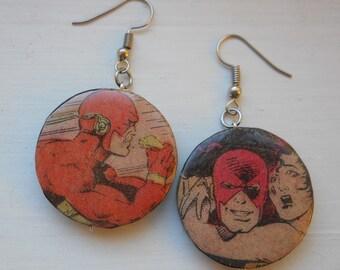 Flash Recycled Comic Book Earrings