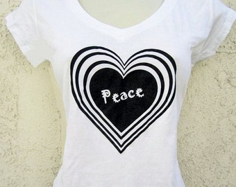 Heart/ Love/ Peace/ Valentine t-shirt for women in white - sizes S - 3X - supports Dog/ Cat Rescue - on SALE