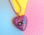 Feminist Purple No Heart Necklace, Pastel Goth Resin Jewelry, Kawaii Pastel Grunge Necklaces Jewelry Gift for Best Friend or Girlfriend