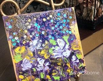 Water Lily Flower Painting ,Original Mixed Media Art by Aeris Osborne ,Palette knife, Impasto, Beaded Mosaic