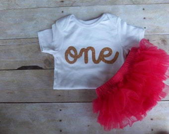 Baby Girl Birthday Outfit - One - Pink and Gold Glitter First Birthday - One - Princess - Bloomers , LONG or SHORT Sleeve