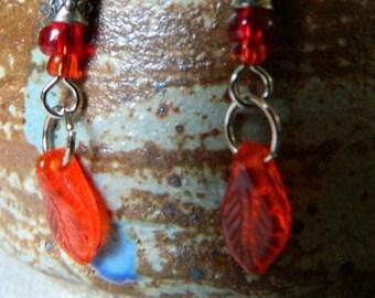 Orange Leaf Earrings