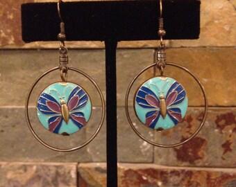 Butterfly Turquoise Aqua Blue Antiqued Gold Brass Hoop Earrings