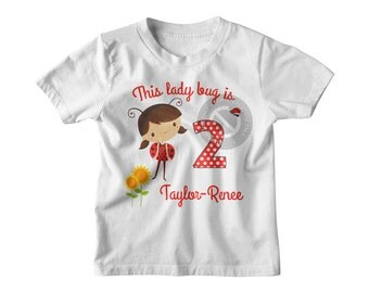 Ladybug Birthday T Shirt | Brunette Lady bug Birthday Outfit | Birthday Tshirt | LDYB-101