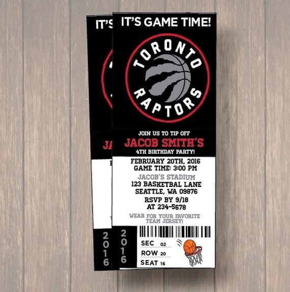 12 PER PACK Birthday Party Invitations, Toronto Raptors ...