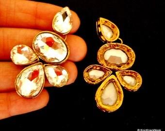 1 x Crystal Applique, Crystal Cabochon, Gold Applique - 140316A2